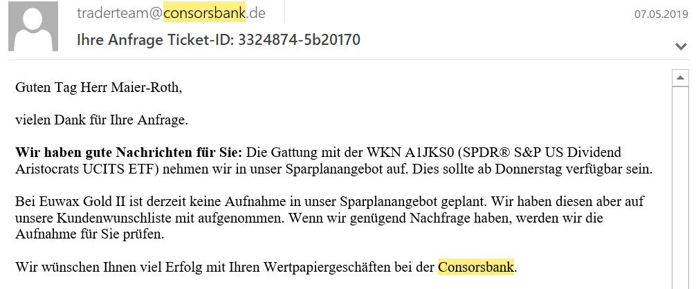 Aktiensparpläne - Kundenwünsche Consorsbank